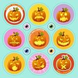 Set dziewięć ikon dyniowych z różną twarzą royalty ilustracja
