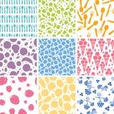 Set dziewięć karmowych bezszwowych wzorów tło Zdjęcie Stock