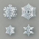 Set dziewięć płatek śniegu różny papierowy cięcie od papieru odizolowywającego na przejrzystym tle Wesoło boże narodzenia, nowy r ilustracja wektor