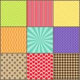 Set dziewięć prostych geometrycznych wzorów Obraz Royalty Free