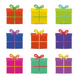 Set dziewięć różnych kolorowych prezentów pudełek dla Obraz Royalty Free