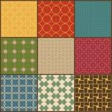 Set dziewięć retro prostych geometrycznych bezszwowych wzorów Fotografia Stock