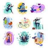Set dziewięć rysunków ludzie robi aktywność w pojęcie ilustracji w mieszkanie stylu ilustracja wektor