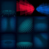 Set dziewięć tła abstrakcjonistyczny cyfrowy szablon robić z gradientem i okręgami zawiera ilustracja wektor