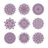 Set dziewięć wektorowych mandalas odizolowywających na białym tle Zdjęcie Stock