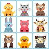 Set dziewięć zwierząt gospodarskich Obrazy Stock