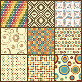 Set dziewięć retro geometrycznych bezszwowych wzorów z okręgami Obraz Royalty Free