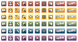 Set of e-book icons stock images