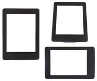 Set of e-book reader with cut out screen isolated Royalty Free Stock Images
