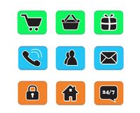 Set of e-commerce icon web button icons contact symbol collectio. N black and white on blue green and orange button phone mail life chat home padlock people Royalty Free Stock Photos