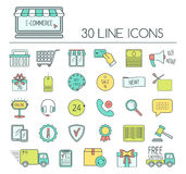 Set of e-commerce line icons. Color modern line icons for business, web development and landing page. Flat design. Vector Stock Image
