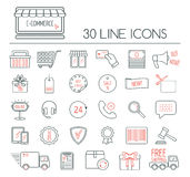 Set of e-commerce linear icons. Modern line icons for business, web development and landing page. Flat design. Vector Royalty Free Stock Photos