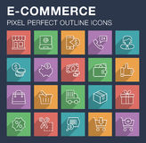 Set of e-commerce and shopping icons with long shadow. Royalty Free Stock Images