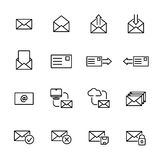 Set of e-mail icons in modern thin line style. High quality black outline communication symbols for web site design and mobile apps. Simple linear mail Royalty Free Stock Photography
