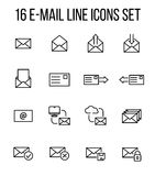 Set of e-mail icons in modern thin line style. High quality black outline communication symbols for web site design and mobile apps. Simple linear mail Stock Photography