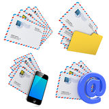Set of E-mail and Internet Messaging Concept. 3D Royalty Free Stock Images