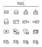 Set e-mailowe ikony w nowożytnym cienkim kreskowym stylu ilustracja wektor