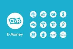 Set of e-money simple icons Stock Photos