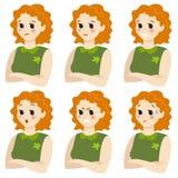 Set ?e?skie emocje gest dziewczyna ilustracja wektor