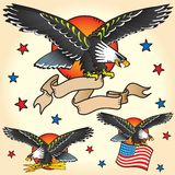 Set of Eagle Retro Tattoo's Stock Photos