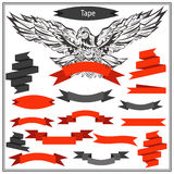 Set eagle ribbons in black and red color Stock Photo