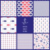 Set of eamless nautical patterns Royalty Free Stock Image