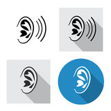 Set of ear icon side view in linear style Royalty Free Stock Photos