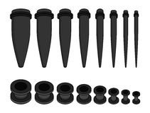 Set of ear tunnels and taper starters kit. Different sizes icons. Black color. Illustration  on white Stock Photography