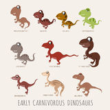 Set of Early carnivorous dinosaurs Stock Photo