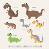 Set of Early herbivorous herbivorous dinosaurs. Eps10 vector format Stock Image