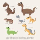 Set of Early herbivorous herbivorous dinosaurs Stock Image