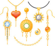 Set of earrings and necklaces. Colorful Royalty Free Stock Photography