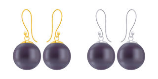 Set of earrings with round black pearls. Stock Images