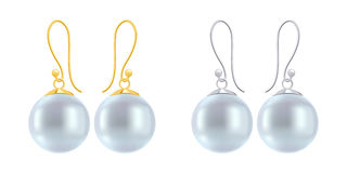 Set of earrings with round blue pearls. Royalty Free Stock Photo