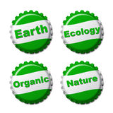 Set of earth bottle caps  on white background Royalty Free Stock Photo