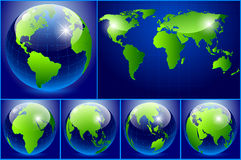 Set of earth on dark background vector illustration