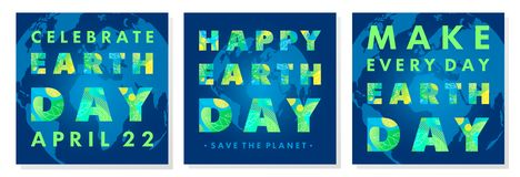 Set of Earth Day typography posters. Letters with fluid shapes,tiny leaves and Earth silhouette on a background.Earth Day concept perfect for prints, flyers royalty free illustration