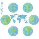 Set of Earth globes and world map Stock Images