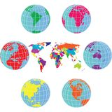 Set with Earth globes and world map Stock Photo