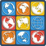Set of earth planet globe icons. Vector. Stock Photo