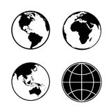 Set of earth planet globe icons. Vector. Stock Images