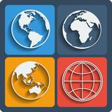 Set of earth planet globe icons. Vector. Royalty Free Stock Photo