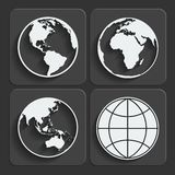Set of earth planet globe icons. Vector. Set of earth planet globe web and mobile icons in flat design with long shadow. Vector royalty free illustration