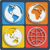 Set of 4 earth planet globe icons. Vector. Set of 4 earth planet globe web and mobile icons in flat design with long shadow. Vector Royalty Free Stock Images