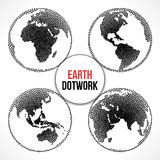 Set of Earth Planet Globe. Vector Dotwork Royalty Free Stock Photo