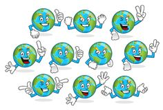 A set of earth vector mascot, earth character vector pack Royalty Free Stock Photos