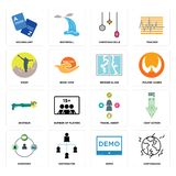 Set of earthquake, demo, shepherd, travel agent, shotgun, broken glass, hiker, christmas bulb, vocabulary icons. Set Of 16 simple  icons such as earthquake, demo Royalty Free Stock Photography
