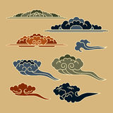 Set with east templates of graphic clouds Stock Photos