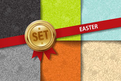 Set of easter backgrounds with doodle icons in Royalty Free Stock Image