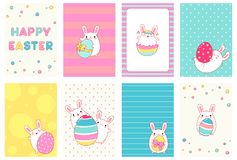 Set of Easter banner with cute rabbits. Collection of Easter banner, background, flyer, placard with cute rabbits. Holiday poster for scrapbooking. Vector Royalty Free Stock Photo
